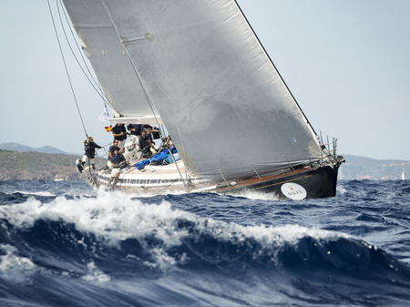 PORTO CERVO - 8 SEPTEMBER: team competing on Maxi Yacht Rolex Cup sail boat race in Sardinia, on September 8 2015 in Porto Cervo, Italy