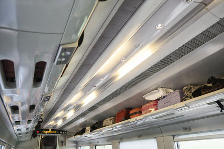 railway transportations: luggage on the train