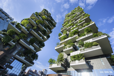 green building: MILAN, ITALY - MAY 15, 2016: Bosco Verticale (Vertical Forest) low view. Designed by Stefano Boeri, sustainable architecture in Porta Nuova district, in Milan