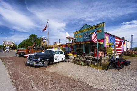 Seligman, Arizona - 11 June 2016: classic gift and coffee shop on historic Route 66 in Seligman, Arizona.