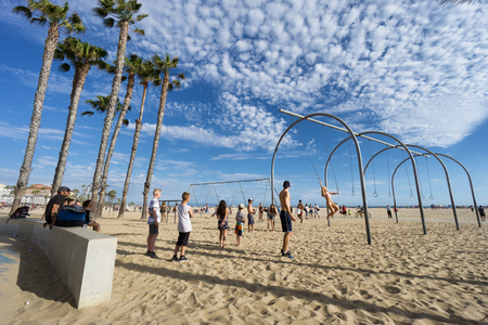 SANTA MONICA, USA - JUNE 18, 2016: Muscle beach is the birth place of the physical fitness boom in the US during the 20th century  on June 18, 2016 in Santa Monica, Los Angeles, California. Editorial