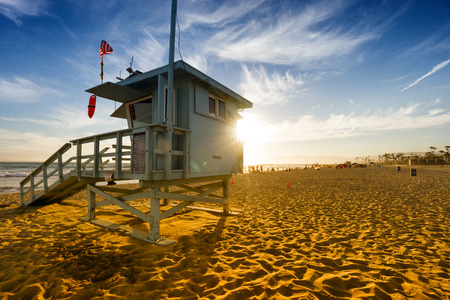 Venice beach at sunset in Los Angeles, USA