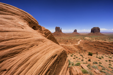 Big rock in Monument valley at the border of Utah and Arizona Stock Photo