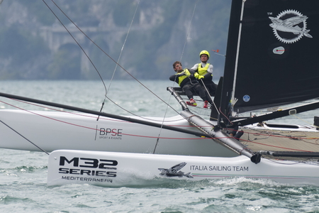 RIVA DEL GARDA, ITALY - AUGUST 20: second day of competition for M32 series mediterranean, a sailing fast catamaran competition on Garda lake. on august 20, 2016 in Riva del Garda, Italy.