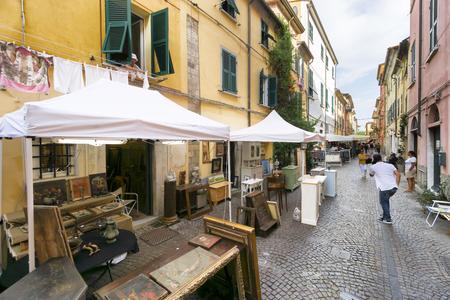 SARZANA, ITALY - AUGUST 18, 2016: Popular market of antique and vintage objects in Sarzana, Liguria, Italy.