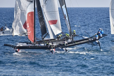 deportes nauticos: GENOA, ITALY - SEPTEMBER 25: last day of competition for M32 series mediterranean, a sailing fast catamaran competition organized during Genoa boat show 2016. on september 25, 2016 in Genova, Italy.
