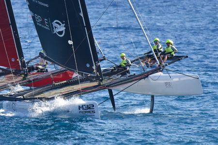 GENOA, ITALY - SEPTEMBER 25: last day of competition for M32 series mediterranean, a sailing fast catamaran competition organized during Genoa boat show 2016. on september 25, 2016 in Genova, Italy.