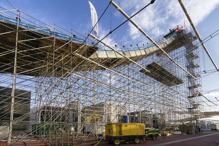 MILAN, ITALY - NOV 10, 2016: Freestyle Ski World Cup practice day during Big Air Milan. In the ex area expo is located the big ramp used by athletes to jump. Editorial