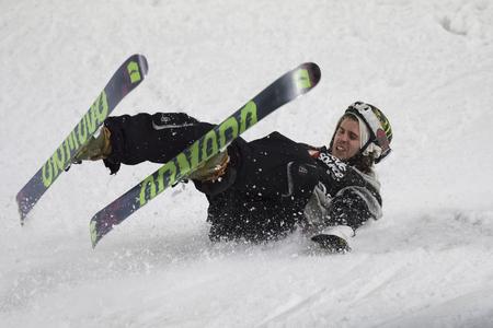 MILAN, ITALY - NOV 11, 2016: Freestyle Ski Race during Big Air Milan. Editorial