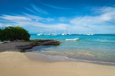 paradise bay: boats on caribbean sea