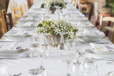 white table set for party & Wedding Table Setting Stock Photos. Royalty Free Wedding Table ...