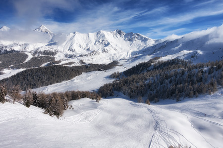pila: aerial mountain view of Pila ski resort in winter, Aosta, Italy
