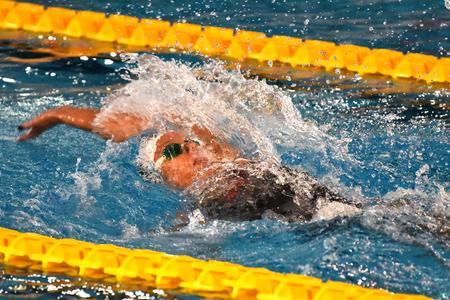 MILAN, ITALY - March 10, 2017: Federica Pellegrini swimmer wins 200mt backstroke final during 7th Trofeo citta di Milano swimming competition.
