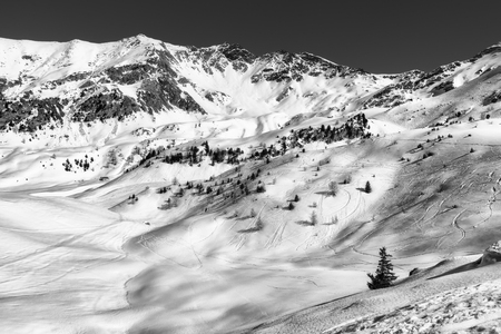 pila: black and white mountain landscape, Pila, Italy