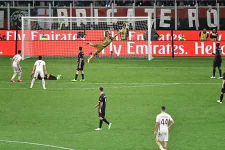 MILAN, ITALY-MAY 7, 2017: italian serie A soccer match AC Milan vs AS Roma, at the san siro stadium, in Milan. El Shaarawy goal. Final result 1 - 4.