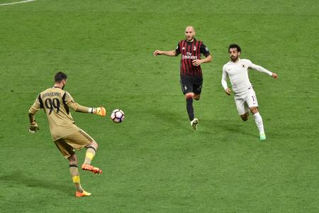 MILAN, ITALY-MAY 7, 2017: italian serie A soccer match AC Milan vs AS Roma, at the san siro stadium, in Milan. Final result 1 - 4.