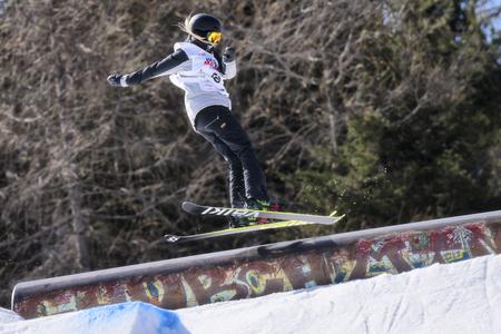 キエーザ ・ ヴァルマレンコ, イタリア - 2017 年 4 月 6 日: フリー スタイル スキー FIS ジュニア世界選手権大会、スロープ スタイルの選手 報道画像
