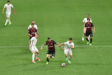 MILAN, ITALY-MAY 7, 2017: italian serie A soccer match AC Milan vs AS Roma, at the san siro stadium, in Milan. Final result 1 - 4.