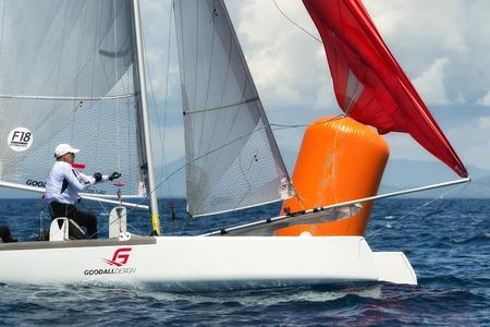 PUNTA ALA - 3 JUNE: athlete sailing on Formula 18 national catamaran regatta, on June 3 2016 in Punta Ala, Italy