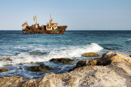 ship wreck in Kelibia coast, Tunisia Stock Photo