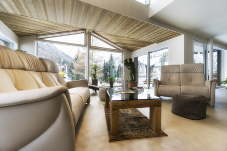 living room of luxury house with mountain view in modern design Stock Photo