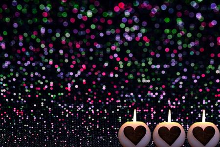 romantic christmas background with candles Foto de archivo