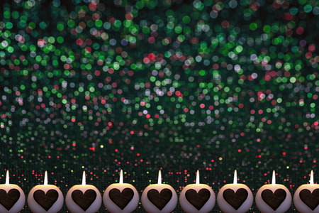 romantic colorful christmas background with candles