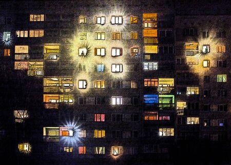 big house in city at night, light in windows Foto de archivo
