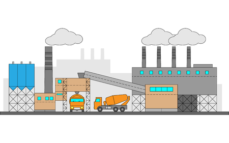 Concrete, cement factory. Industrial illustration with two machines. Editable. EPS10