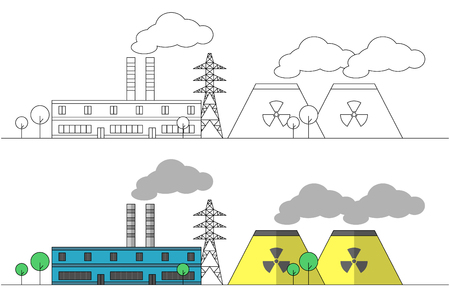 Industrial factory with two yellow nuclear stations and power line. Vector flat and linear illustration. Landscape. Colouring. Painting. Pipes with smoke. EPS10 Illustration