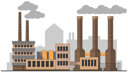 Industrial factory landscape. Vector flat illustration. Background plants. Pipes with smoke. Painting. Editable. EPS10 Illustration