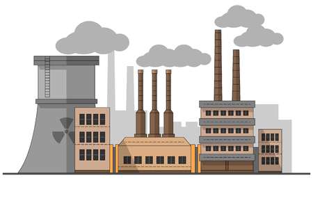 Industrial factory with nuclear station landscape. Vector flat illustration. Background. Pipes with smoke. Painting. Editable. EPS10