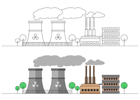Industrial factory with two nuclear stations. Vector flat and linear illustration. Colouring. Painting. Editable. Landscape. Pipes with smoke. EPS10
