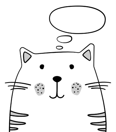 Doodle sketch Cat with thought cloud illustration. Cartoon vector cat with thinking bubble. Pet. Domestic animal. Postcard, poster design. Hand drawing. Design for print design, shirts. EPS 10  イラスト・ベクター素材