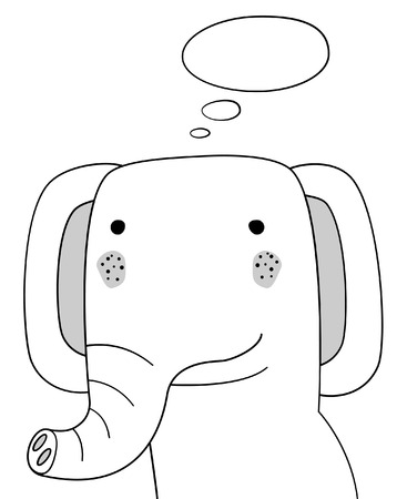 Doodle sketch Elephant with thought cloud vector illustration.Cartoon elephant and thinking bubble. Wild mammal animal.Postcard, poster, card design. Hand drawing.Design for print design,shirts.