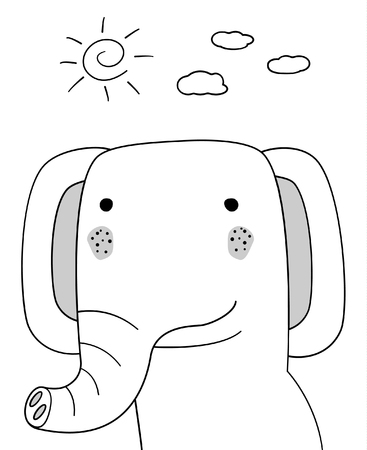Doodle sketch Elephant with sun and clouds illustration.Cartoon vector. Doodle style. Wild mammal animal.White background.Postcard,napkin,poster design. Hand drawing.Good for print design,shirts.EPS10 Иллюстрация