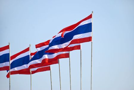 poll: A series of Thai flags on a windy day