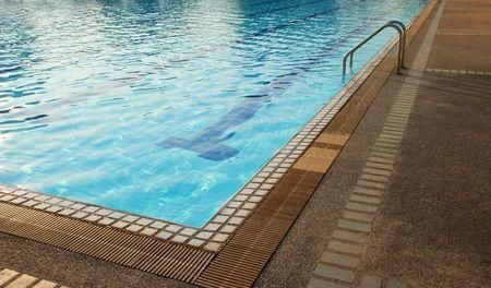 distort: The corner of a swimming pool Stock Photo