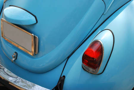 kilometer: A detail image of a blue vintage German car