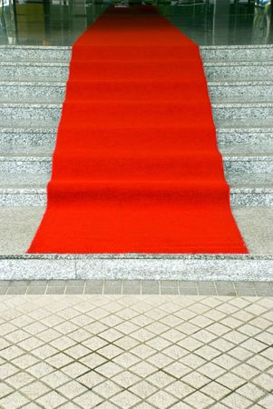 A red carpet ready for guests photo