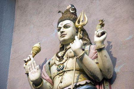 hindu god shiva: A statue of the Hindu God Shiva in a Temple