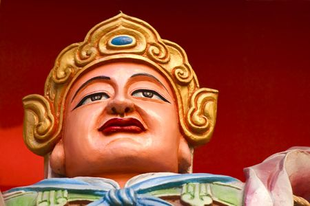 The statue of a Guard at a Buddhist Temple in China