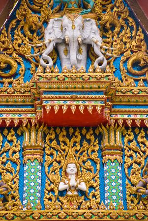 An image of the colorful façade of a Buddhist Temple in Hua Hin Thailand Reklamní fotografie - 3244296