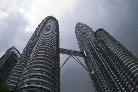 The Kuala Lumpur twin towers on a cloudy day
