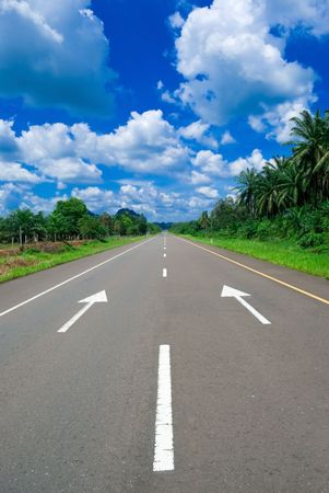 An empty stretch of highway in a tropical country on a bright sunny day