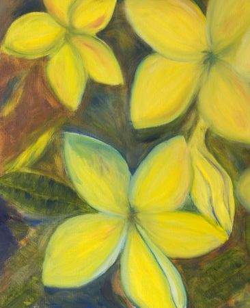 An impressionist oil painting of a floral arrangement photo