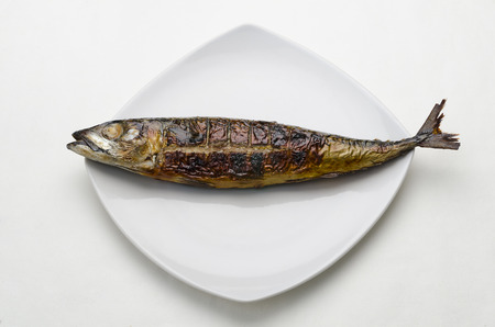 A horizontal image of a grilled mackerel on a white square ceramic plate against a white paper background