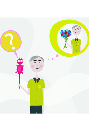 A vector image of an old absent minded man confusing a cat for a bouquet of flowers