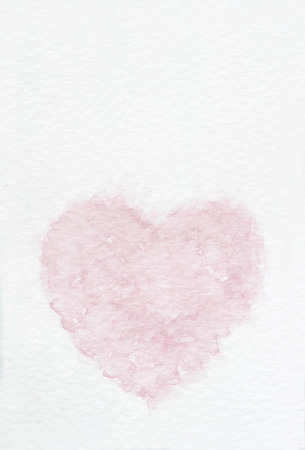 A vertical image of a water wolor hand painted pink heart on white paper