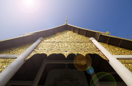 A horizontal image of Wat Phra Singh temple in Chiang Mai, Thailand.